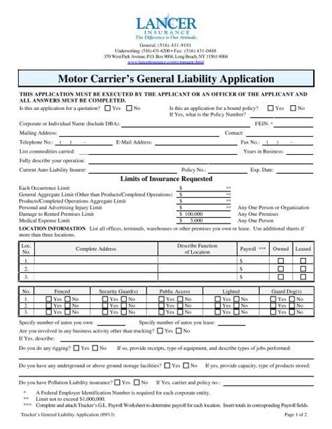 Contact lancer insurance company by phone, mail, email or completing our contact form today. Motor Carrier's General Liability Application - Lancer Insurance ...
