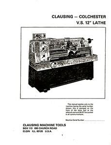 clausing colchester    lathe instructions  repair parts manual ebay