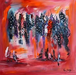 Tableau Contemporain Grand Format : tableau moderne rouge grand format ville abstraite 80 x 80 cm ~ Teatrodelosmanantiales.com Idées de Décoration