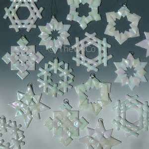 prism white iridized snowflake fused glass ornament suncatcher