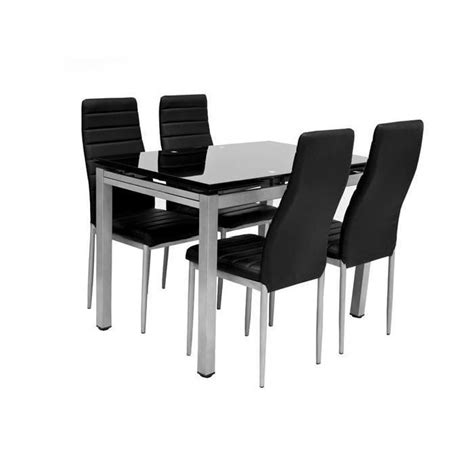 table 4 chaises 2 rallonges plato noir achat vente table a manger complet table 4