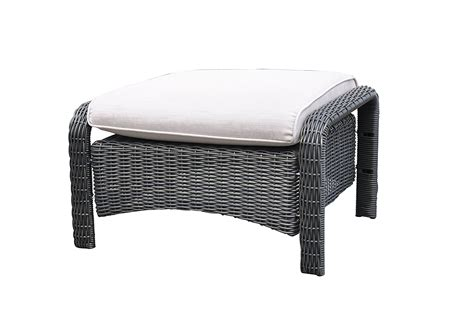 furniture black storage rattan ottoman with white cushion