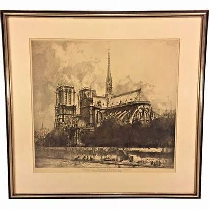 Dame Notre Framed Cathedral Antique Etching Forte