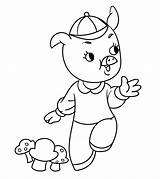 Coloring Pigs Three Pages Printable Cartoon Momjunction sketch template