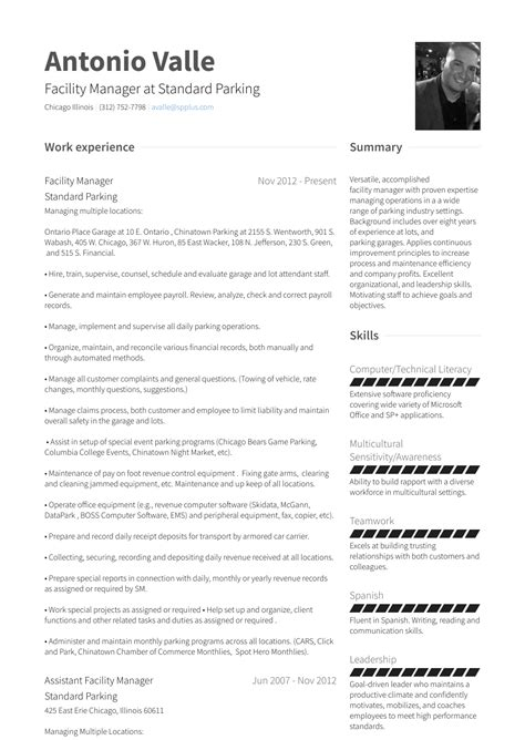 Facility Manager - Resume Samples & Templates | VisualCV