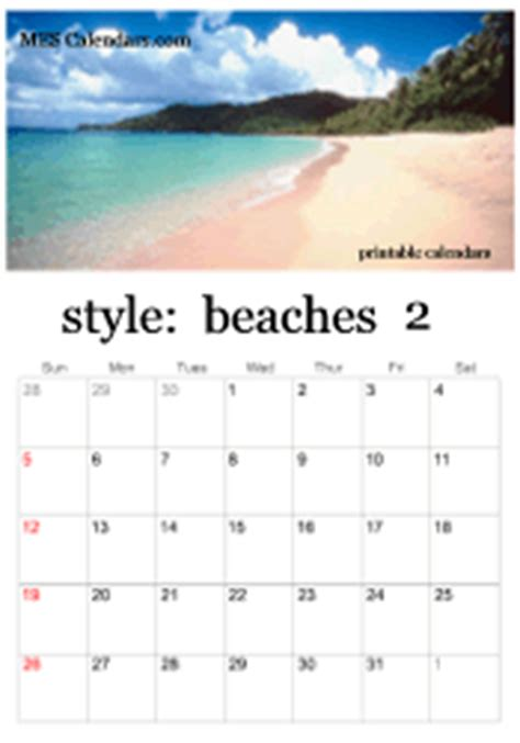 printable beach calendars backgrounds  beaches