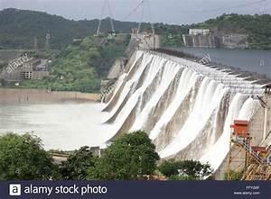 Narmada river dam in kevadia colony ; Gujarat ; India ...