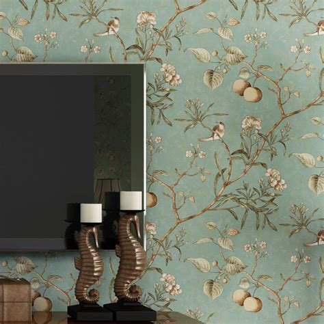 wholesale wall paper pune dark blue retro flower