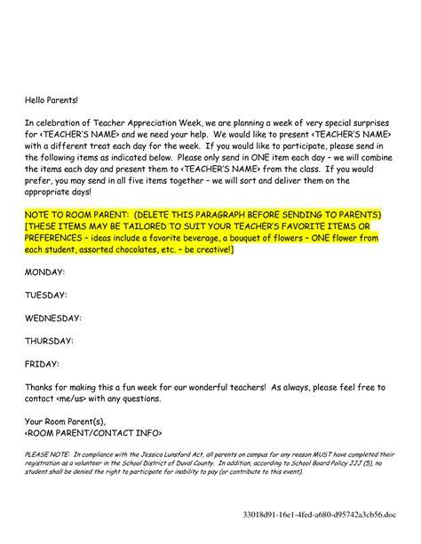 teacher appreciation week letter sample teacher