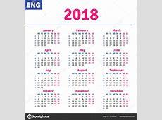 Inglés calendario 2018 — Vector de stock #147098389