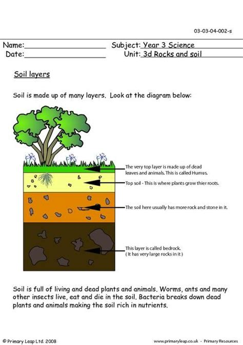 primaryleap co uk soil layers worksheet science soil