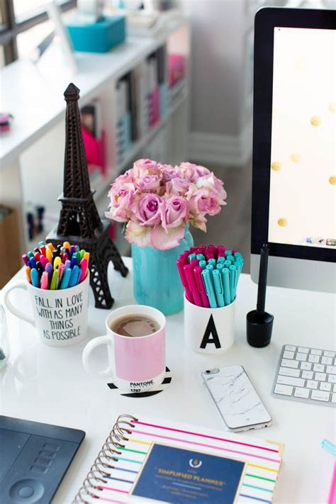 desk decoration themes in office pink and blue desk accessories simplified planner studio
