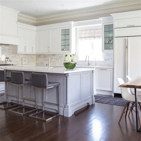 stools for kitchen island island with gray leather counter stools with nailhead trim transitional kitchen