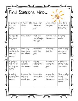 Summer Find Someone Who By Teaching For Tomorrow Tpt