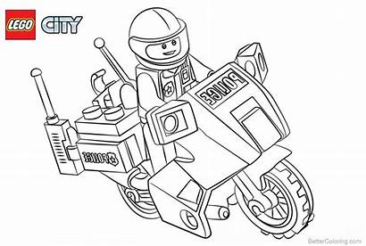 Lego Coloring Police Pages Motorcycle Printable Adults