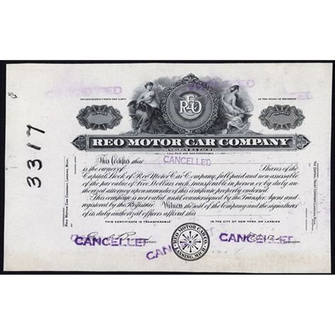 Business insurance 8:00am to 8:00pm aedst, monday to friday. REO Motor Car Company Proof Stock Certificate.