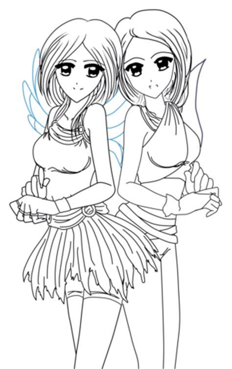 ausmalbild yin und  anime zwillinge ausmalbilder