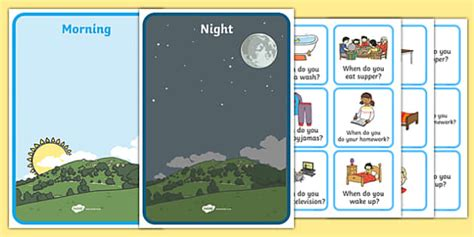 morning  night sorting activity image  word cards sort