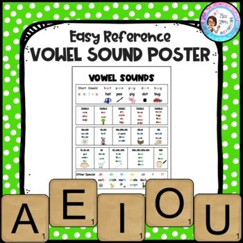 vowel sound poster easy reference   zees