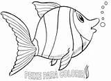 Colorir Peixes Desenhos Desenho Peixe Imprimir Coloring Pintar Imagens Bolo Tie Template sketch template