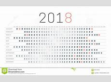 2018 Calendar With Moon Phases Printable Calendar 2018