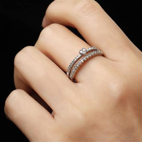 marilyn simple cute stackable crystal heart band silver