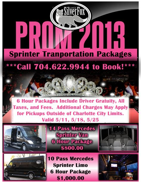 Prom Limo Packages mercedes sprinter prom packages silverfox limos