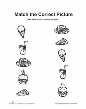 food matching worksheet education