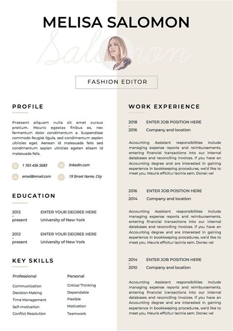 Resources and support for teachers and schools. Resume Template | CV Template | Resume | CV design ...