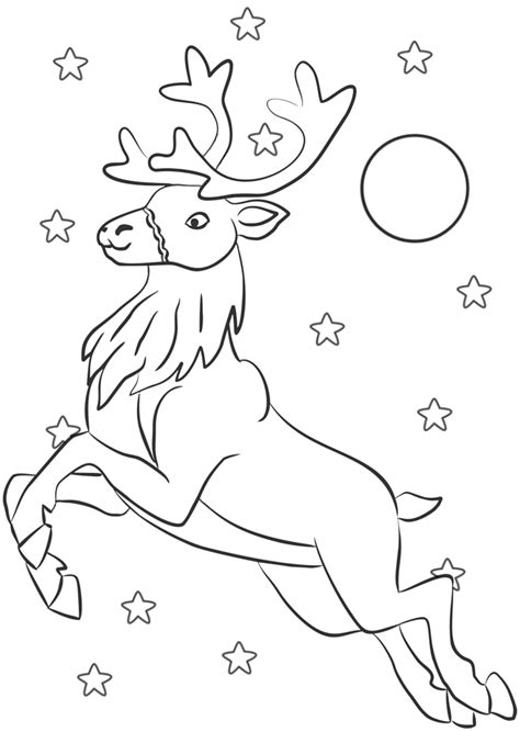 colouring flying reindeer rooftop post printables