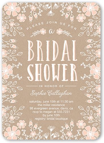flower border 5x7 bridal shower invitations shutterfly