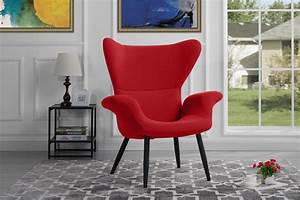 Contemporary, Velvet, Accent, Armchair, Futuristic, Style, Living, Room, Chair, Red