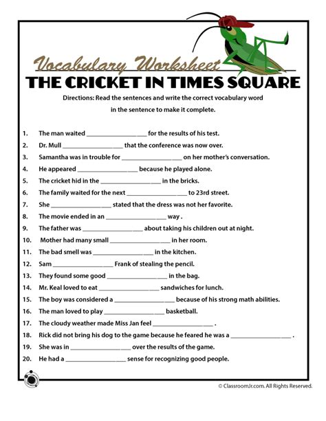 printable worksheets for the cricket in times square