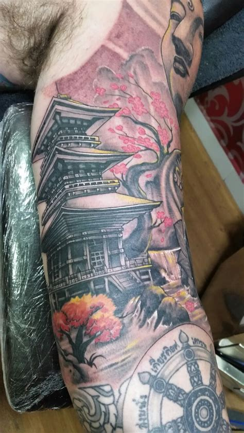 japanese temple tattoo ideas  pinterest asian