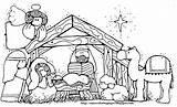Coloring Nativity Jesus Pages Manger Christmas Sheet Drawing sketch template