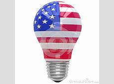 Bulb Light With American Flag Stock Illustration Image
