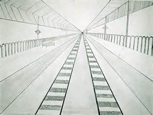 One Point Perspective Drawing Train Tracks