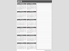 Free Printable Calendar 2019 with Holidays in Word, Excel, PDF