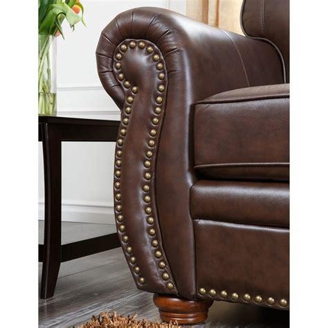 abbyson living pearla leather club arm chair with ottoman