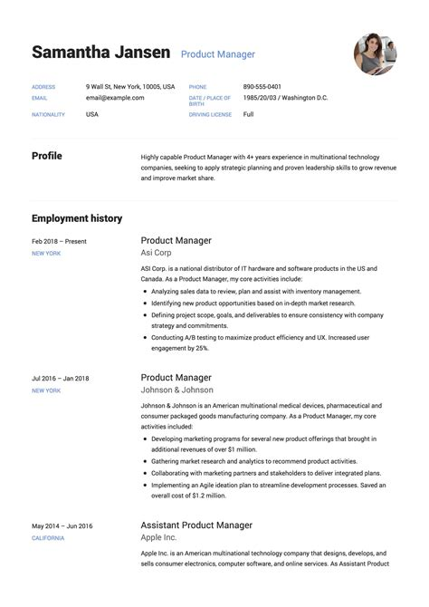 Production managers have to perform many duties in an organization. Product Manager Resume Resume  + 12 Samples  | PDF | 2019
