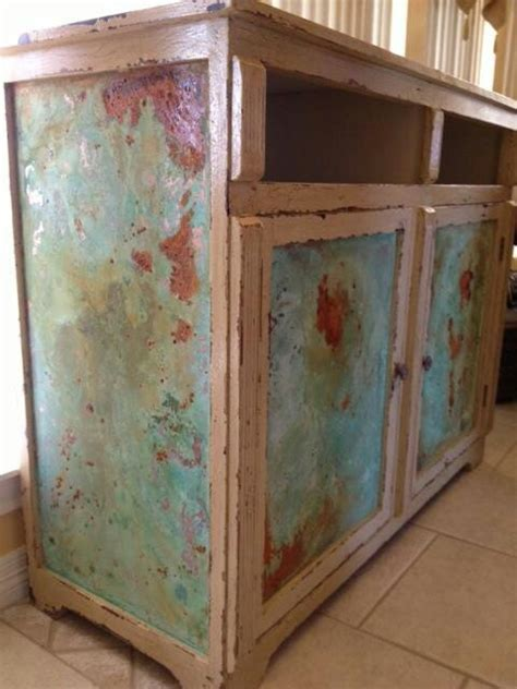 copper  rust patina effects hand painted furniture