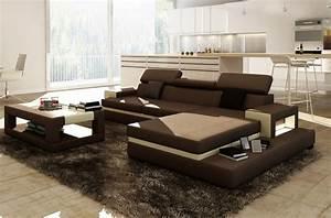 Canapé D Angle 5 Places : canap d 39 angle en cuir italien 5 places wagram chocolat et cru mobilier priv ~ Teatrodelosmanantiales.com Idées de Décoration