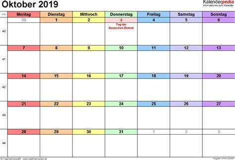 kalender oktober als excel vorlagen