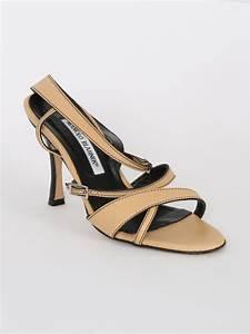 Manolo Blahnik - Strappy Beige Leather Low Heel Sandals 36 ...