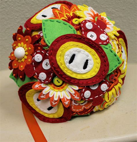 Super Mario Bros Fireflower Wedding Bouquet Pics