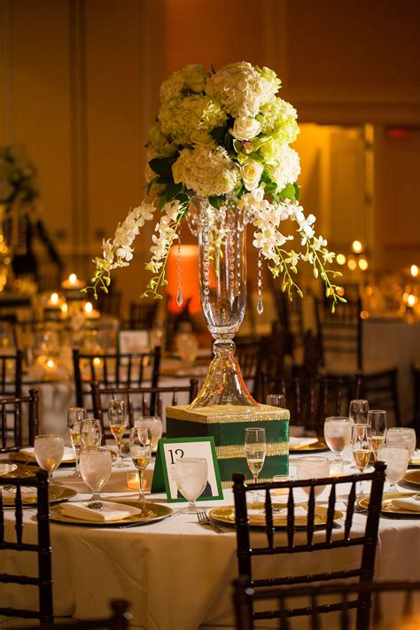 elaborate ivory  emerald centerpiece