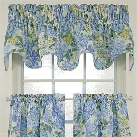 blue and green kitchen curtains hydrangea blue scallop valance bed bath beyond 7924