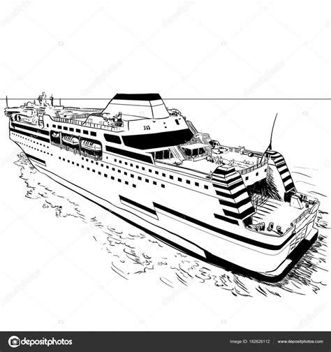 Kleurplaat Binnenvaartschip by Traversier Vector Illustration De Dessin De Image