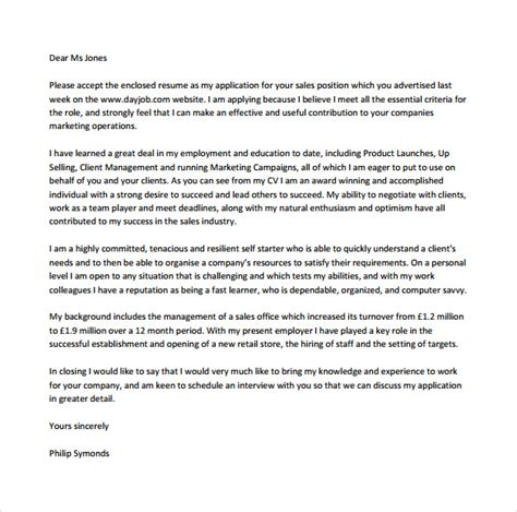 sales cover letter template 8 free sles exles