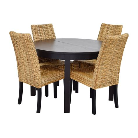round dining table set for 4 66 off macy 39 s ikea round black dining table set with